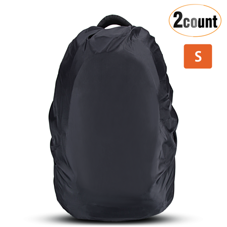 AGPTEK 2-Pack Nylon Waterproof Backpack Rain Cover for Hiking/Camping/Traveling/Outdoor Activities,Black.(XS, S, M, L)