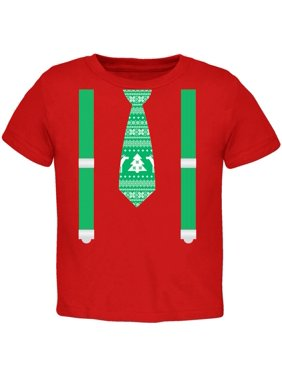 Ugly Christmas Sweater Tie With Suspenders Red Toddler T-Shirt - 2T