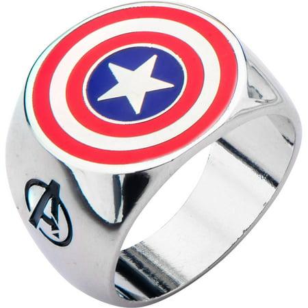 Marvel Men's Stainless Steel Shield Logo Ring