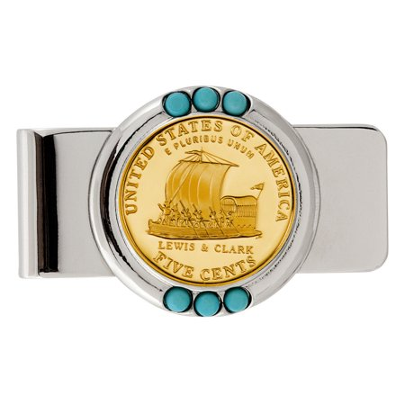 Gold-Layered Westward Journey Keelboat Nickel Turquoise Coin Money (Nickel Keelboat)