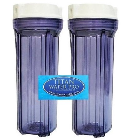 "Water Filter 2 Housing Standard 10"" for Reverse Osmosis RO/DI 1/4"" port (Clear)"