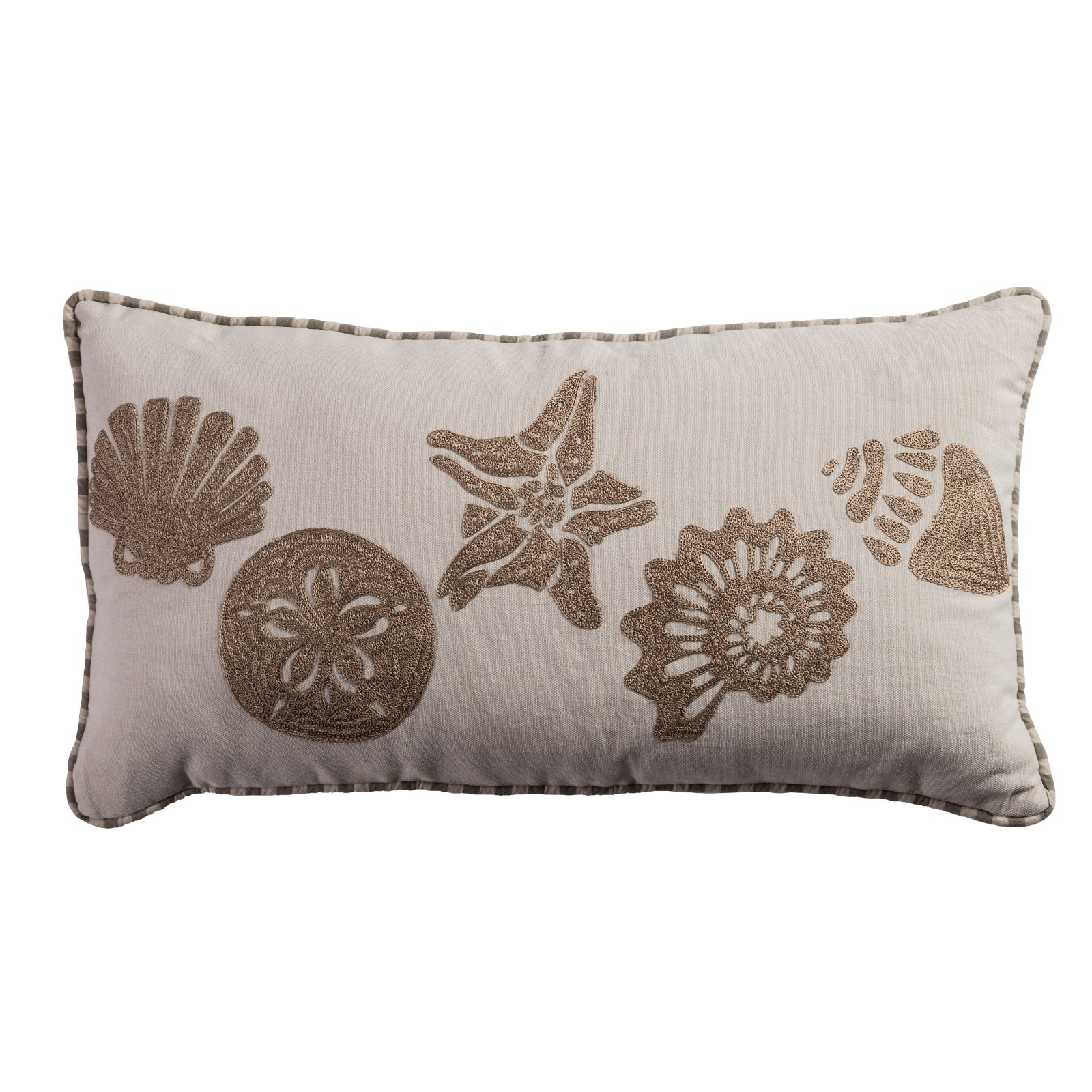 "Rizzy Home One Of A Kind Pillow 11"" x 21"" in Light Beige Color"