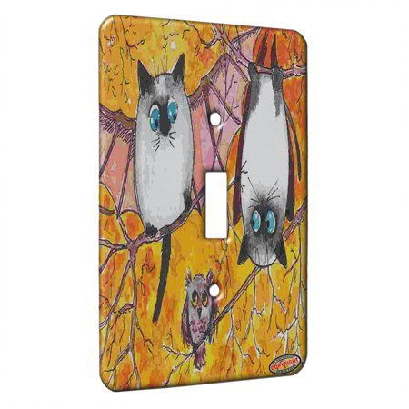 KuzmarK™ Single Gang Toggle Switch Wall Plate - Siamese Batty Kitties with Screech Owl Fantasy Cat Art by Denise Every