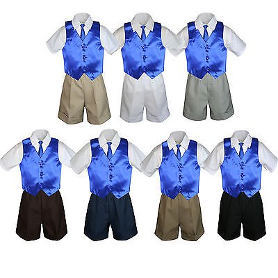 4pc Set Boy Toddler Formal Royal Blue Vest and Necktie Black  Khaki Shorts S-4T