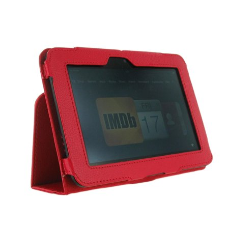 Unlimited Cellular Leather Flip Book Case Folio For Kindle Fire Hd 7    2012 Version   Red