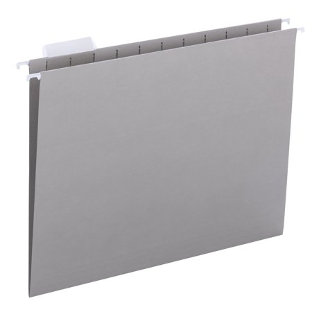 Essentials Hanging File Folders (Smead Hanging File Folder with Tab, 1/5-Cut Adjustable Tab, Letter Size, Gray, 25 Count)