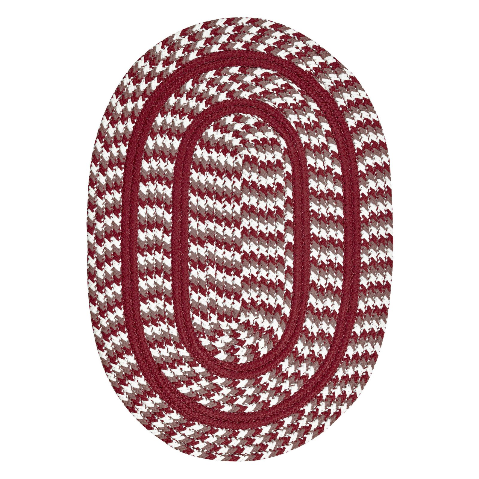 Crescent Braided Rug 7-Piece Set with Room Size Rug and Accessories, Burgundy by Pam Overseas LLC