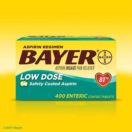 Aspirin Regimen Bayer, 81 mg. Low Dose, 400 Tablets