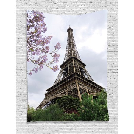 Eiffel Tower Decor Wall Hanging Tapestry, Eiffel Natural Flowers Colorful Blossoms Cloudy Sky Perspective Paris Decor Print, Bedroom Living Room Dorm Accessories, By Ambesonne ()