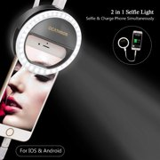 Selfie Ring Light for Phone [Rechargeable Power Bank] Clip on Selfie LED Camera Lights [3 Level Brightness] Ring Light for iPhone iPad Samsung Galaxy Cellphone Photography Camera Vlogging