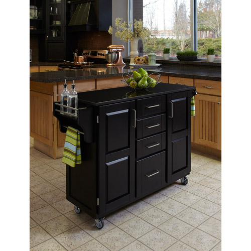 Home Styles Large Kitchen Cart, Black   Black Granite Top by Home Styles