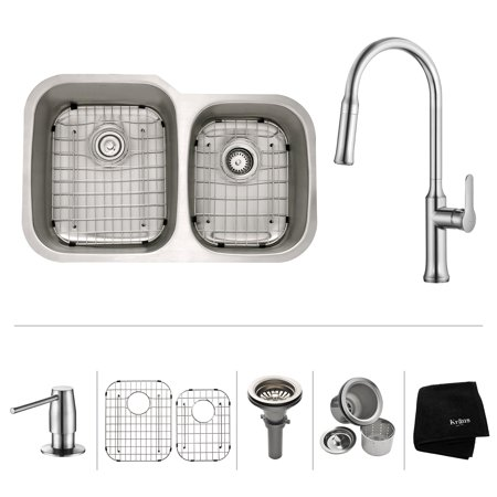 Double Bowl Corner Sink (KRAUS 32 Inch Undermount Double Bowl Stainless Steel Kitchen Sink with Nola Pull Down Kitchen Faucet & Soap Dispenser in Chrome)