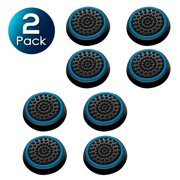 2 Pack Insten 4pcs Black/Blue Silicone Thumb Thumbstick Grips Analog Stick Cover Caps for Xbox 360 Xbox One PS4 PS3 PS2 Sony PlayStation 2 3 4 Controller