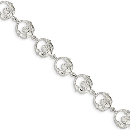 925 Sterling Silver Irish Claddagh Celtic Knot Bracelet 7 Inch Fancy Gifts For Women For Her (Chain Claddagh Bracelet)
