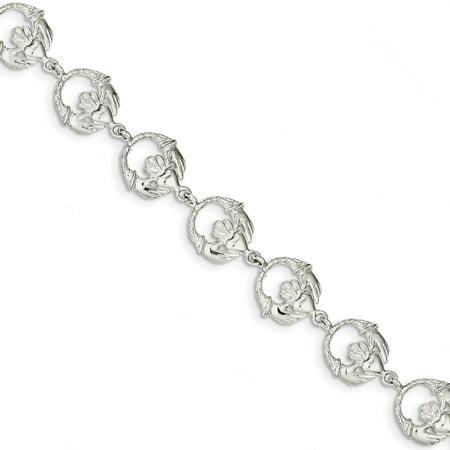 Sterling Silver Claddagh Bracelet - 925 Sterling Silver Irish Claddagh Celtic Knot Bracelet 7 Inch Fancy Gifts For Women For Her
