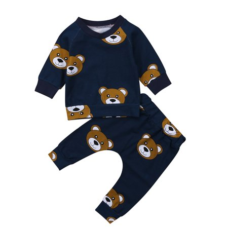 Bear Clothes Outfit - Little Toddler Baby Boy Girl Long Sleeve Bear Printed Clothes Outfits Set T-shirt Tops + Long Pants