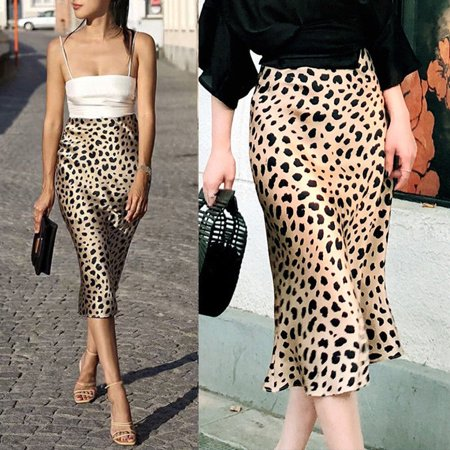 - Womens Long Skirt Leopard Print High Waist Ladies Sexy Fashion Cocktail Club Dress S