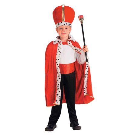 Morris Costumes Boys New King Tall Crown Lapel Fur Robe One Size (Kids), Style - Kings Robe Fur