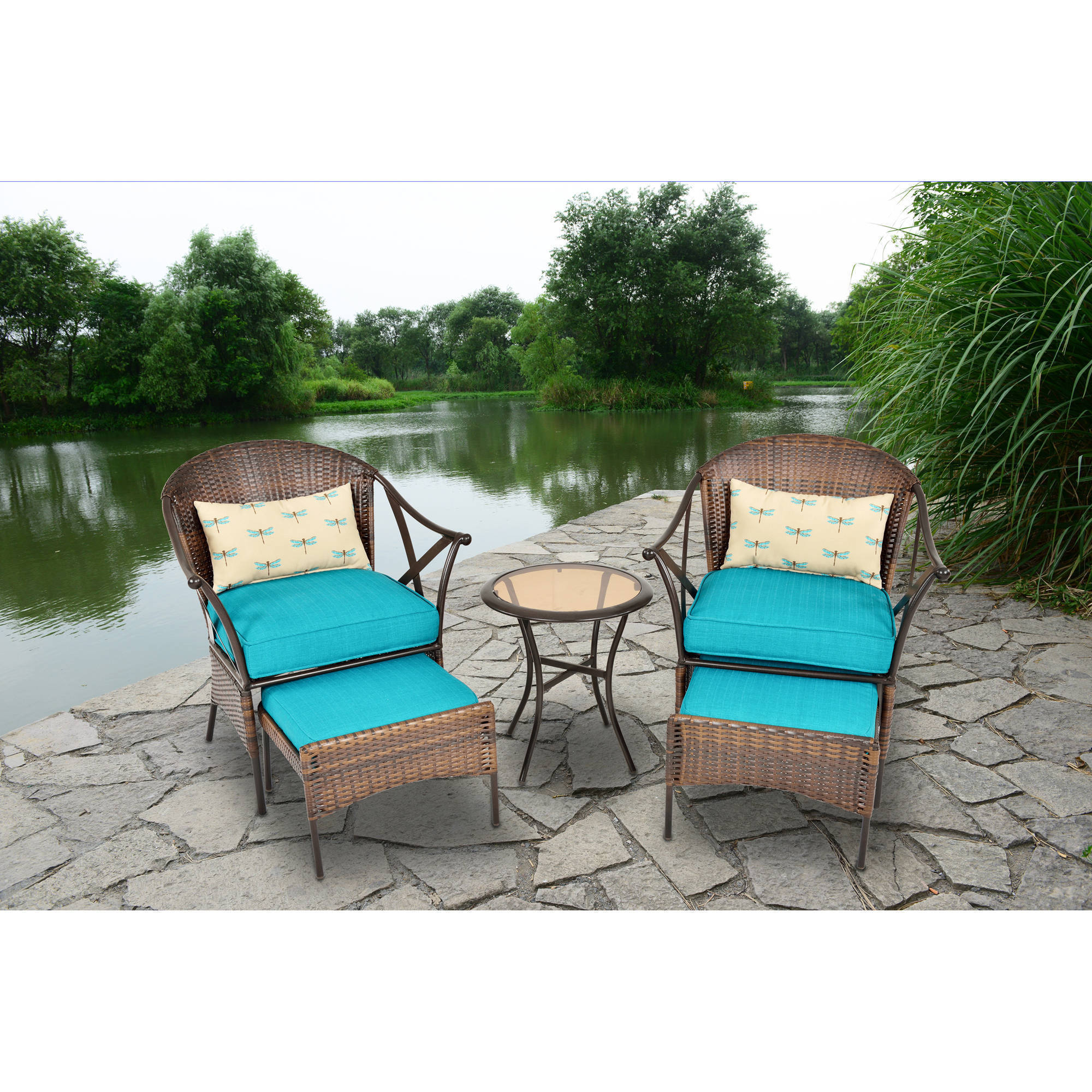 Mainstays 5-Piece Skylar Glen Outdoor Leisure Set, Blue, Seats 2