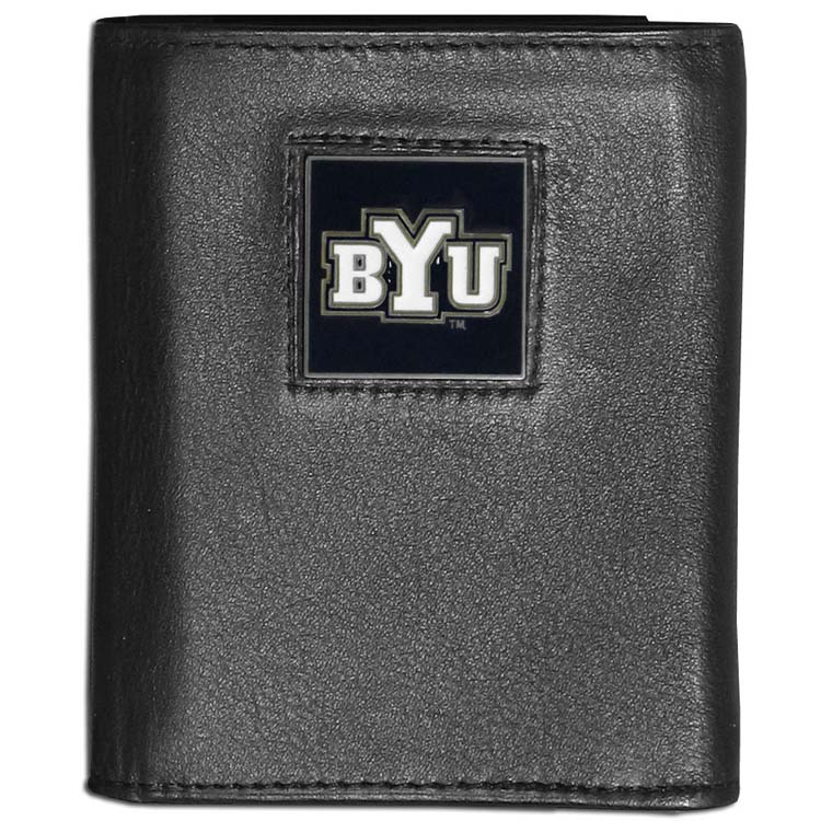 BYU Cougars Deluxe Leather Tri-fold Wallet Packaged in Gift Box (F)