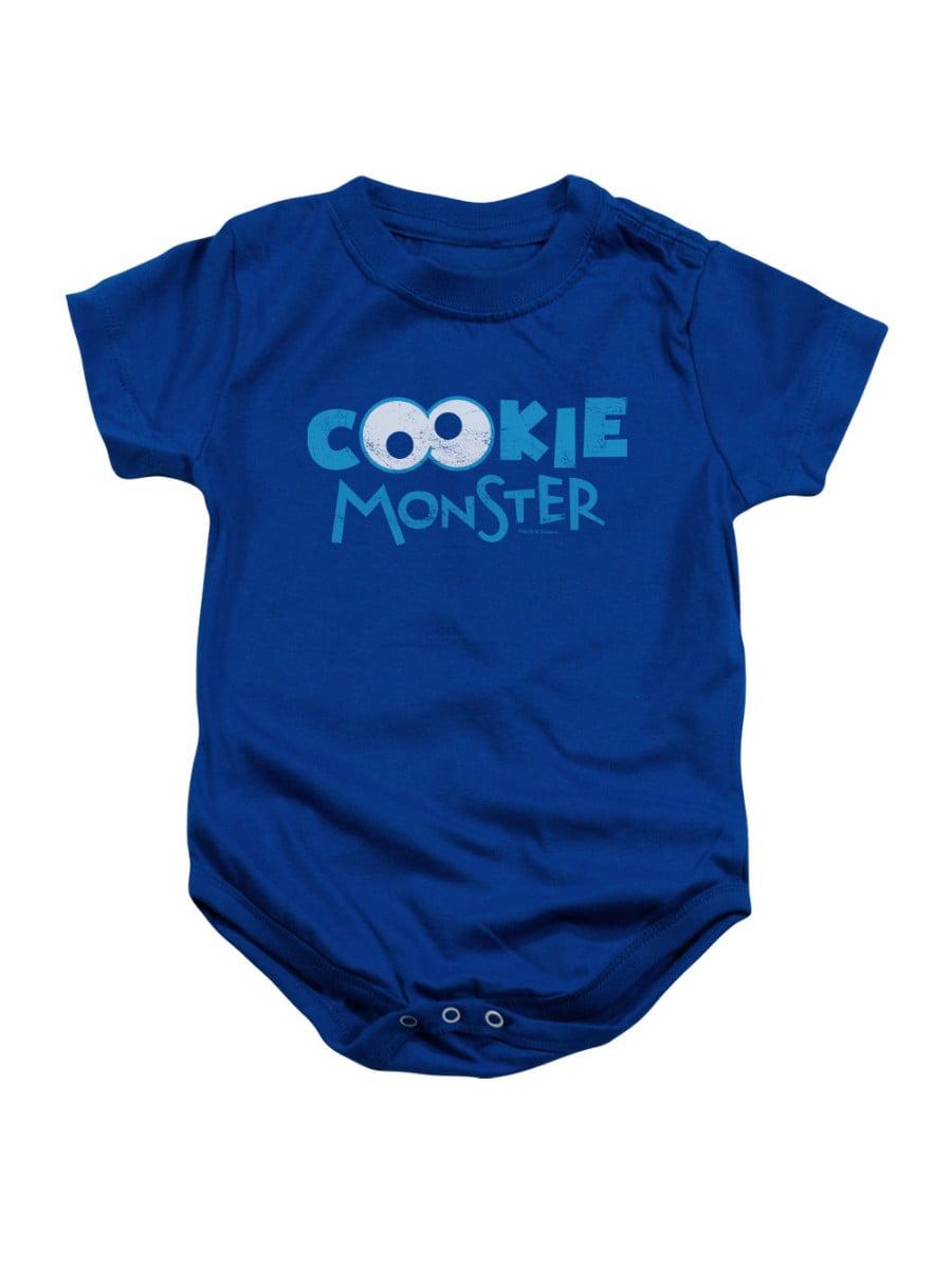Sesame Street TV Show Cookie Monster Eyeball Logo Infant Romper Snapsuit