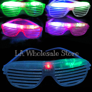 LA Wholesale Store 12 Flashing Shutter Shade Glasses FREE Temporary Body