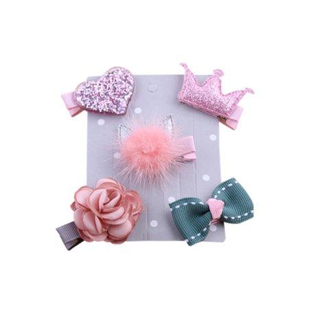 Babula Baby Girl Flower Bowknot Princess Hair Clip 5Pcs/set (50s Girl Hair)