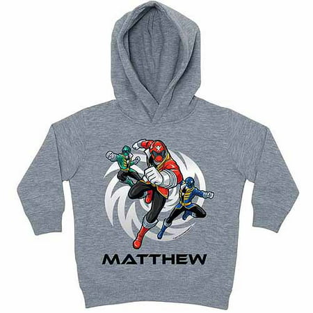 Personalized Power Rangers Power Up Little Boys' Grey Hoodie