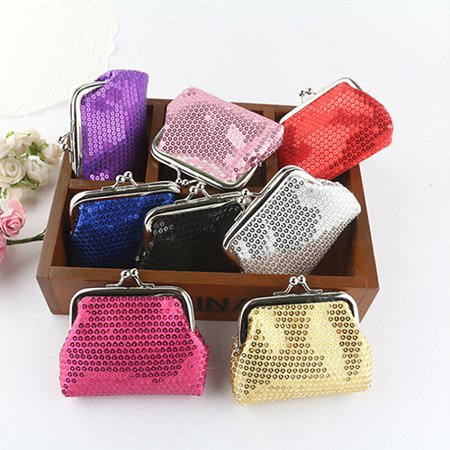 Girl12Queen Fashion Women Sequins Buckle Mini Change Coin Purse Clutch Handy Wallet Bag