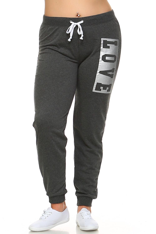 "Womens Plus Size Side ""LOVE"" Print Drawstring Casual Jogger Pants E-381XP-XL-Black/White"