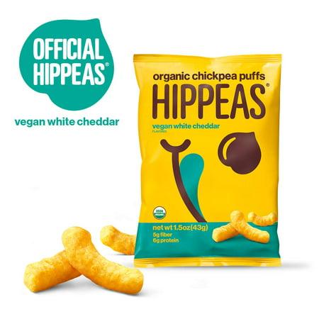 HIPPEAS Organic Chickpea Puffs, Vegan White Cheddar, 1.5 ounce (Pack of 12) Organic Corn Puffs