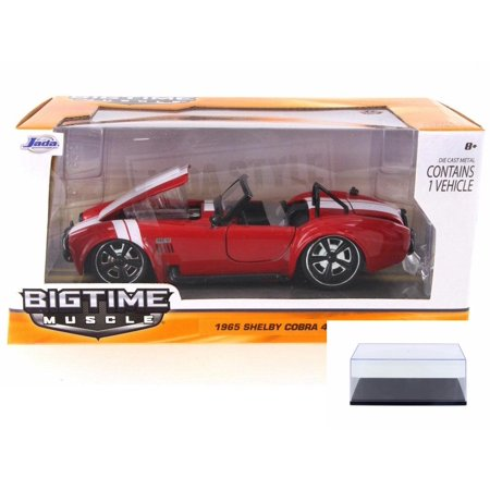 Diecast Car & Display Case Package - 1965 Ford Shelby Cobra 427 S/C Convertible, Red - JADA 90537YV - 1/24 Scale Diecast Model Toy Car w/Display Case 1965 Chevelle Malibu Convertible