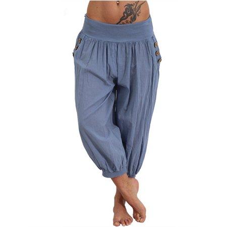 6 colors Casual Sport Soft Loose Solid Pants](Disco Pants Blue)