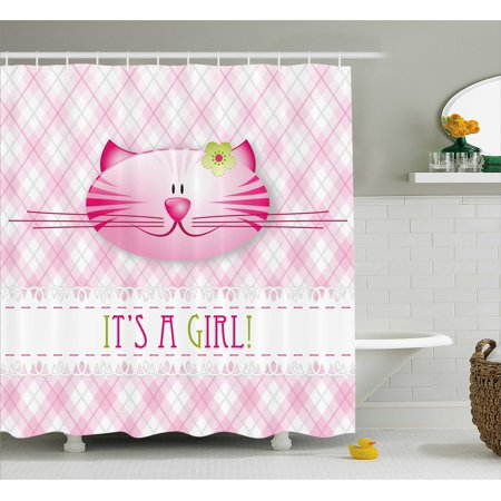 Gender Reveal Shower Curtain Its A Girl Message Happy Cat Kitten Little Flower Retro Pattern