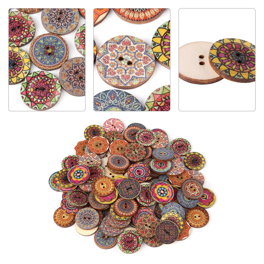 20 X WOODEN PATTERNED BUTTONS ASSORTED DESIGNS 25MM DIAMETER CRAFTS SEWING