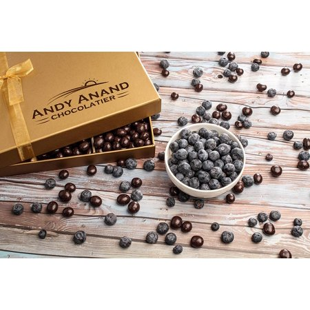 Andy Anand Chocolate Special Gift Basket, Plush I LOVE YOU Teddy Bear & Handwritten Greeting Card with Vegan Premium Blueberry covered in Dark Chocolate - 1 lbs Mother's Day Gift