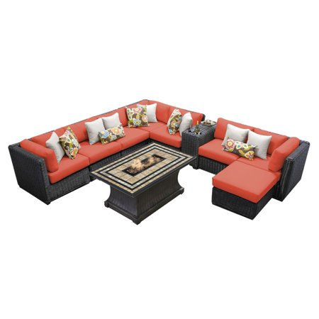 - TK Classics Venice Wicker 10 Piece Patio Conversation Set with 2 Sets of Cushion Covers