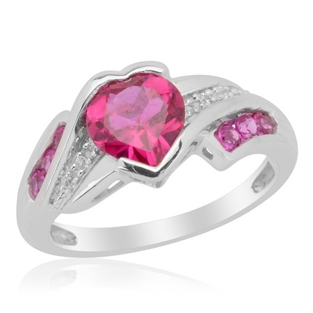 Synthetic Ruby Diamond Bypass Ring Silver Gift Jewelry for Women Size 7 Cttw 1.3