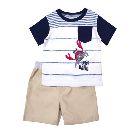 Little Rebels Short Sleeve Graphic Tee and Twill Pull On Shorts, 2-Piece Outfit Set (Little Boys) (Little Miss Muffet Outfit)