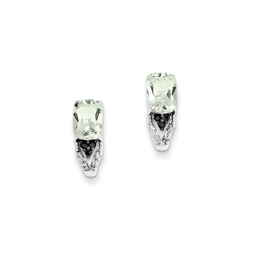 Sterling Silver 0.4IN Long Black & Diamond & Green Quartz Earrings