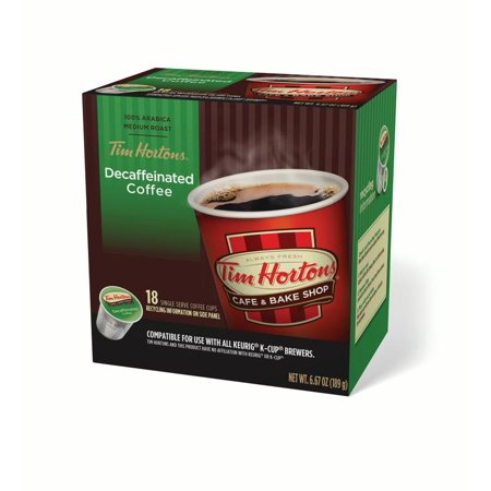 Tim Hortons Decaf Ground Coffee Single Serve Cups, Medium Roast, 18 Ct Count Single Serve Packages