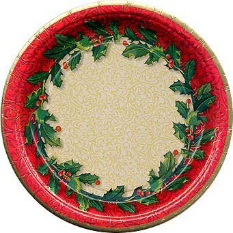 Holiday Party Plates - Holly Berry Theme Banquet Plates - 8 Count - Themed Banquets