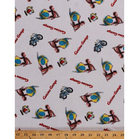 Cotton Curious George Playing Ball Monkey White Cotton Fabric Print by the Yard (54060-g550715), Cotton Fabric Print - 44in Wide - Sold by the Yard By Fields (George Fabric)