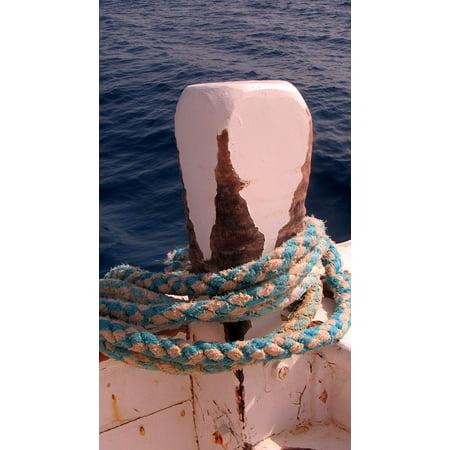 Canvas Print Ship Dew Maritime Rope Bollard Sea Boot Stretched Canvas 10 x 14 (Del Boot)