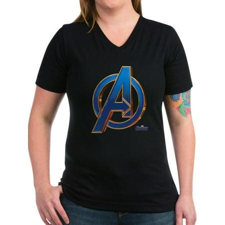 CafePress - Avengers Endgame Logo Women's V Neck Dark T Shirt - Women's V-Neck Dark T-Shirt - Womens Avengers Shirts