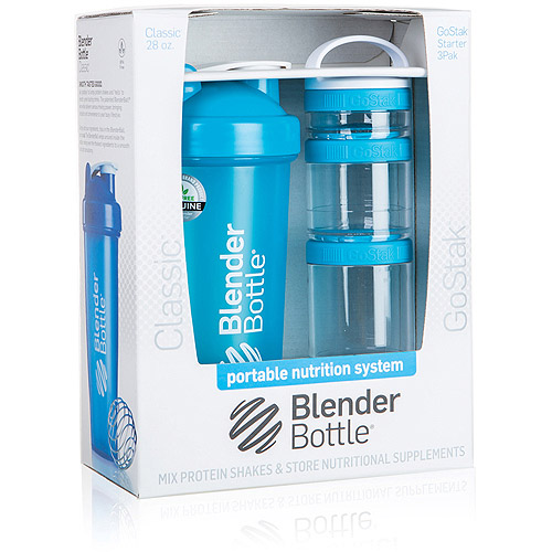 BlenderBottle Combo Pack 28-Ounce Bottle and 3-Piece GoStak Container