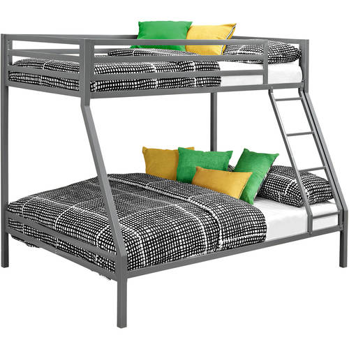 Mainstays Premium twin-over-full bunk bed, Multiple Colors with 2 Mainstays Mattresses