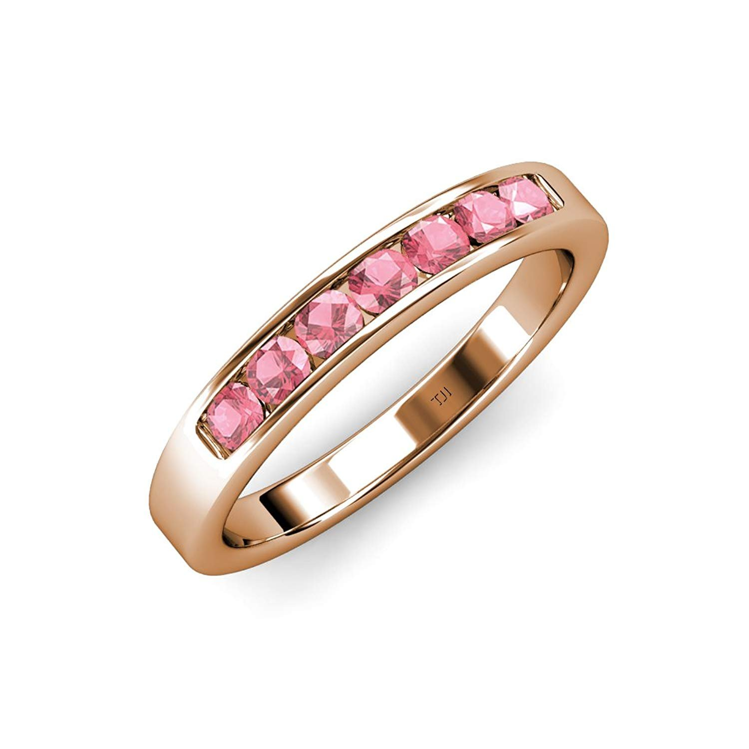 Pink Tourmaline 7 Stone Channel Set Wedding Band 0.73 ct tw in 14K Rose Gold.size 9 by TriJewels