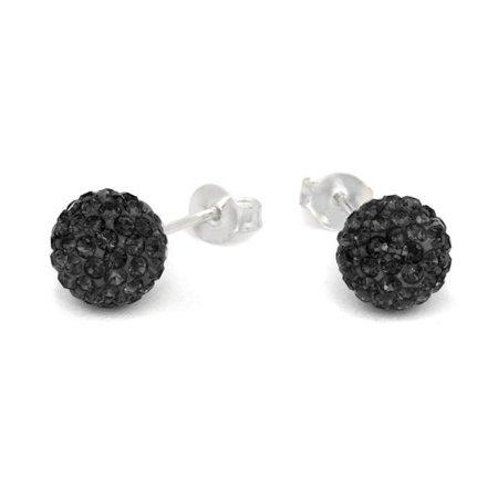 Earrings Ball Stud Pave Black Jet Crystal 8mm