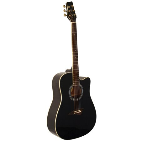 Kona K1BK Acoustic Dreadnought Cutaway Guitar With Spruce Top And High-Gloss Black Finish Black Cutaway Acoustic Guitar